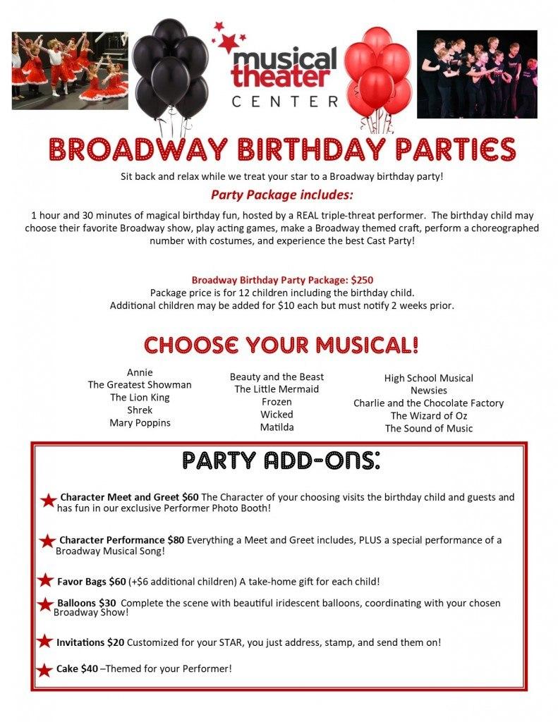 Broadway Birthday Parties